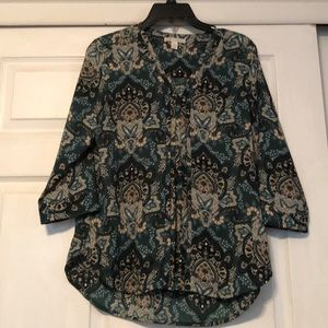Green/tan 3/4 sleeve blouse EUC Dana Buchman M